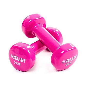 Гантели для фитнеса с виниловым покрытием Zelart Beauty TA-5225-2 (2x2кг), розовые