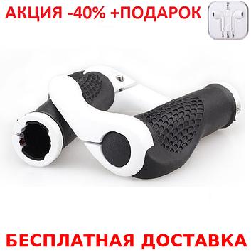 """Эргономичные велосипедные грипсы с алюминиевыми рожками """"фикс"""" (4 расцветки) Белый"""
