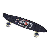 Скейт Пенни борд Best Board SL-AS(108), колеса PU светящиеся, дека с ручкой Череп