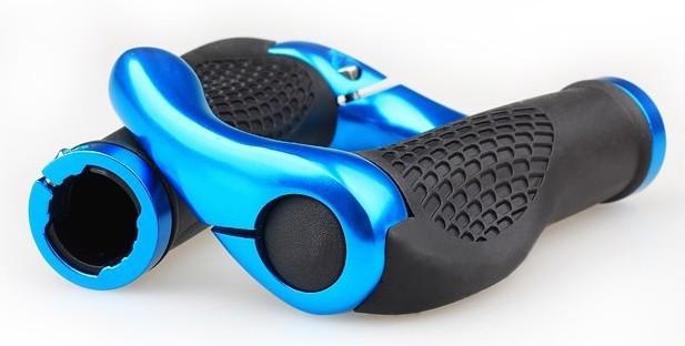 """Эргономичные велосипедные грипсы с алюминиевыми рожками """"фикс"""" (4 расцветки) Синий"""