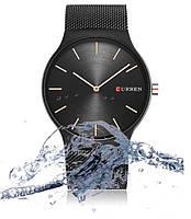 Наручные мужские часы Curen браслет Черные
