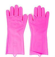 Силиконовые перчатки для мытья и чистки Magic Silicone Gloves с ворсом Коралловые