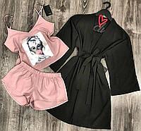 Пижама майка шорты и халат-комплект 047-021-1.