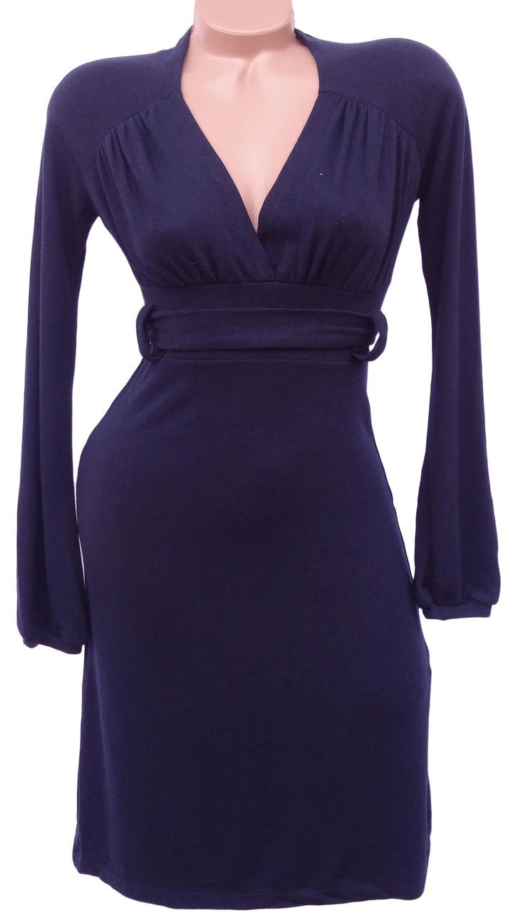Теплое женское платье с пояском (в расцветках 46)
