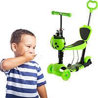 Детский самокат трехколесный 5в1 с родительской ручкой Божья коровка Зеленый