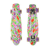 Пенни Борд Best Board 25, двухсторонний окрас, колёса PU светятся Цветы