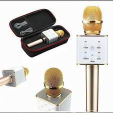 Микрофон-колонка караоке Q7 с чехлом (2 динамика + USB + Bluetooth), фото 3