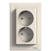 Розетка без заземления двойная Кремовый Asfora Schneider Electric [eph9700123]