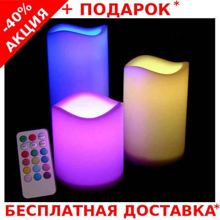 Набор 3 светодиодных свечей с пультом управления Set of 3 Candles LED Colour Change, фото 2
