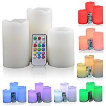 Набор 3 светодиодных свечей с пультом управления Set of 3 Candles LED Colour Change, фото 3