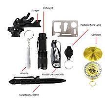 Набор 9 в 1 мультитул для выживания в трудных условия для туристов тактический, фото 3