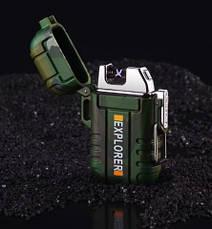 Плазменная электрозажигалка для прикуривания Explorer F120x Original size dual electric arc lighter, фото 3