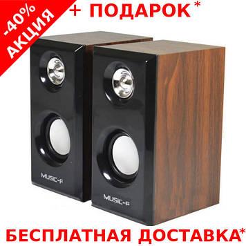 Компьютерные деревянные колонки акустика Music-F D093 с питанием от USB порта