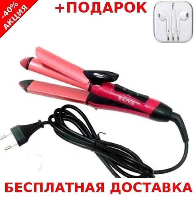 Плойка утюжек Gemei NOVA 2009 2в1 выпрямитель для волос утюжок щипцы завивка + наушники