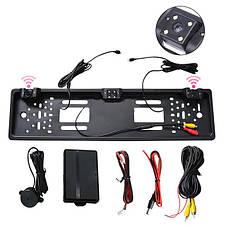 Универсальная рамка для номера с камерой заднего хода EU Car Plate Camera 4 LED Silver, фото 3