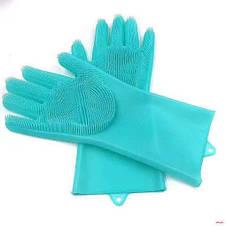 Перчатка-щетка для мытья посуды Силиконовые перчатки для уборки Magic SiliconeGlove Original size, фото 3