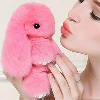 Кролики брелок с мехом 18 см Розовый