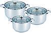 Набор посуды Benson BN-213 3 кастрюли с крышками (8,5 л 10 л 14 л) нержавеющая сталь, фото 3