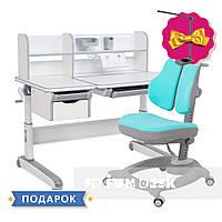 Комплект стол-трансформер Libro Grey+эргономичное кресло Diverso Mint FunDesk