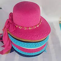 Шляпа женская красная с белыми полями