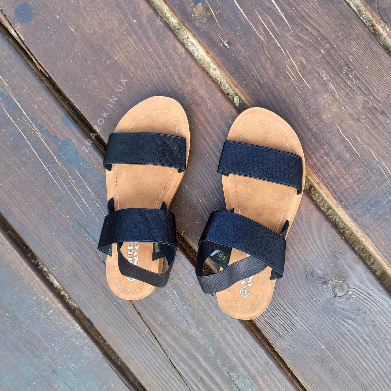 Чорні босоніжки, шльопанці тапки жіночі сандалі на резинці Чорні босоніжки шльопанці тапки сандалі