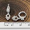 Серьги Xuping 26751 размер 21х6 мм вес 1.9 г белые фианиты позолота Белое Золото, фото 3