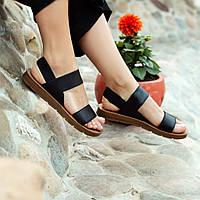 Черные босоножки шлепки тапки женские сандалии на резинке Чорні босоніжки шльопанці сандалі !@#