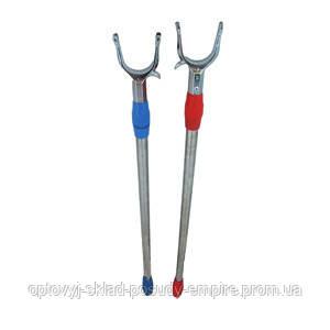 Съемник палка для снятия вешалок одежды, вещей телескопическая двойного выдвижения синяя 1.5м