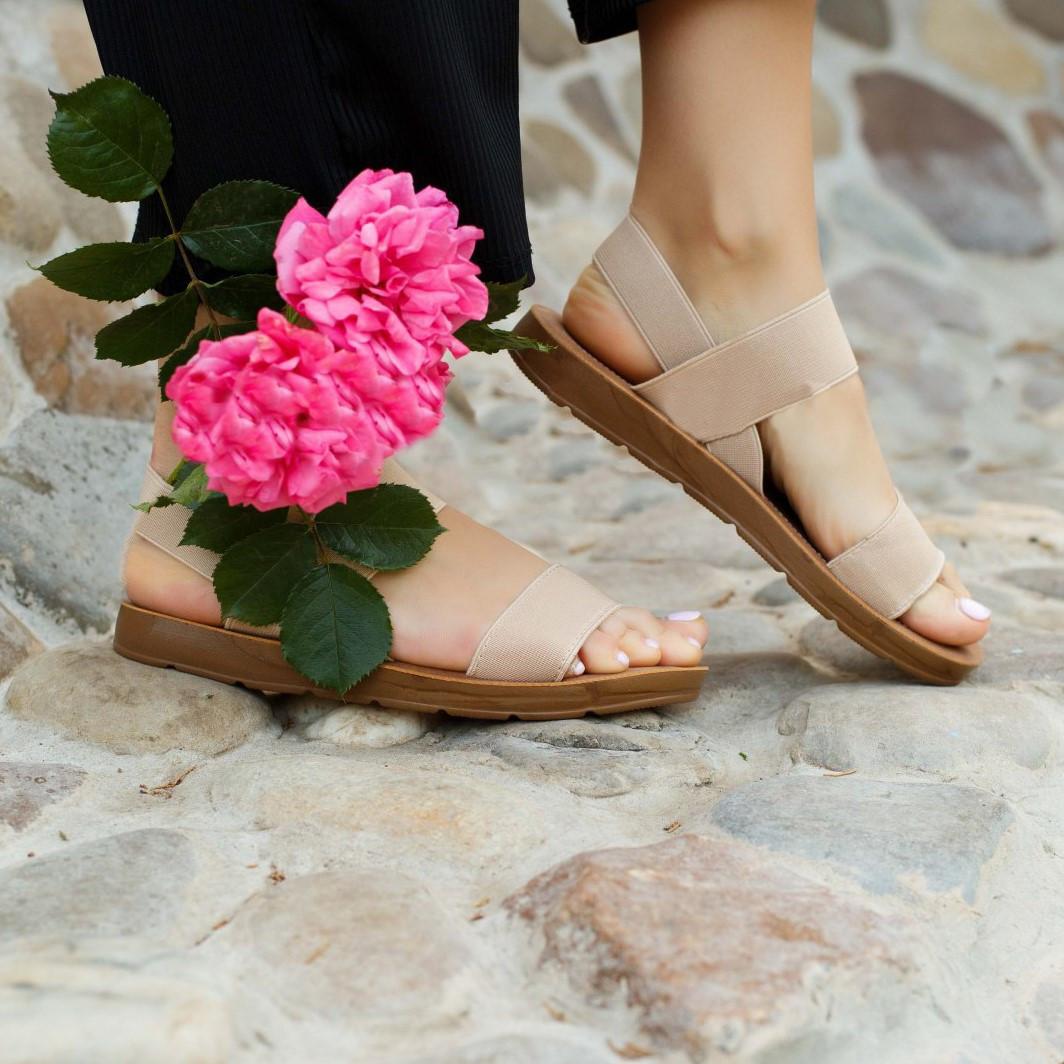 Бежеві босоніжки, шльопанці тапки жіночі сандалі на резинці бежеві босоніжки шльопанці сандалі !@#