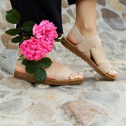 Бежеві босоніжки, шльопанці тапки жіночі сандалі на резинці бежеві босоніжки шльопанці сандалі !@#, фото 2