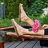Бежеві босоніжки, шльопанці тапки жіночі сандалі без каблука бежеві босоніжки шльопанці тапки сандалі, фото 4