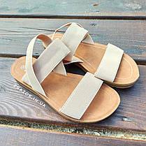Бежеві босоніжки, шльопанці тапки жіночі сандалі без каблука бежеві босоніжки шльопанці тапки сандалі, фото 3