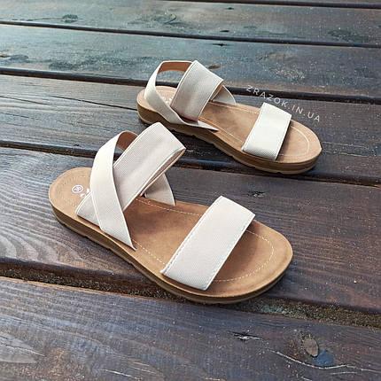 Бежеві босоніжки, шльопанці тапки жіночі сандалі без каблука бежеві босоніжки шльопанці тапки сандалі, фото 2
