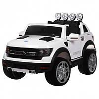 Детский электромобиль Машина Джип Ford белый  для мальчика девочки  3 4 5 6 7 8 лет  2 мотора M 3579EBLR-1
