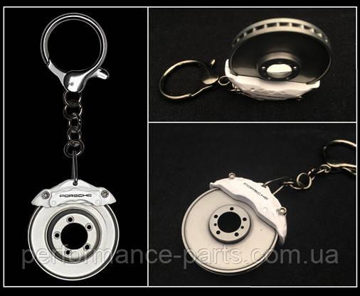 Брелок для ключей с гербом Porsche Brake-disc Keyring, white / silver, артикул WAP0303050L