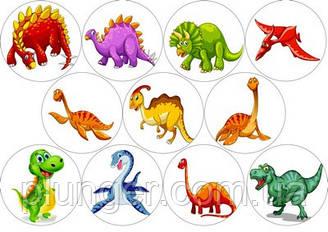 Вафельна картинка для кондитерських виробів Динозаври (аркуш А4) 16