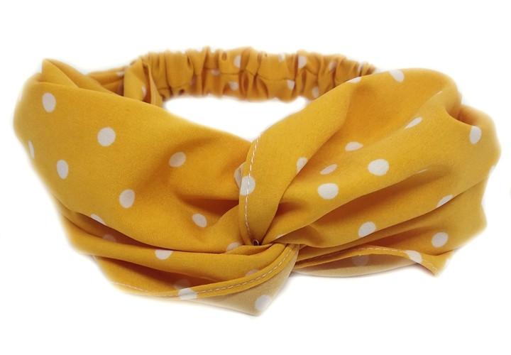Повязка для волос желтая в белый горох
