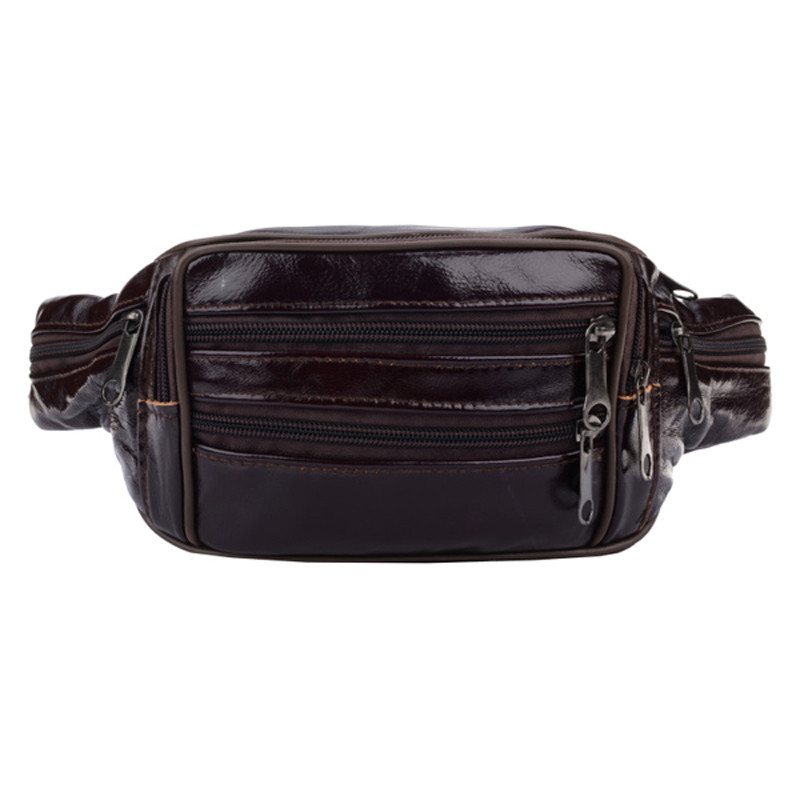 Мужская кожаная сумка на пояс Borsa Leather 1t167m-brown