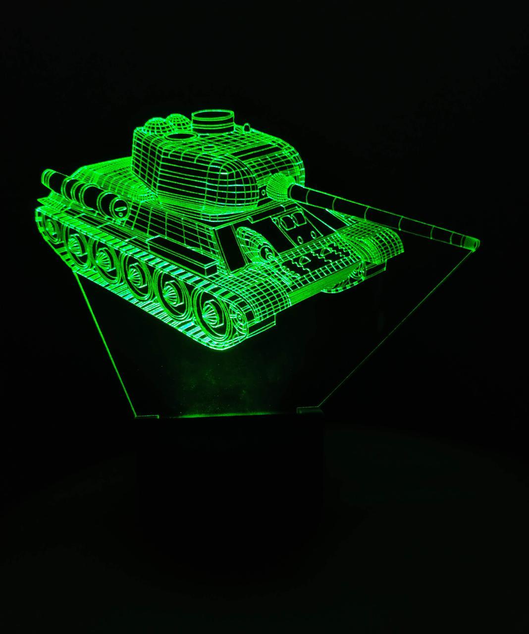 3d-светильник Танк Т 34-85, 3д-ночник, несколько подсветок (на батарейке), подарок военному мальчику