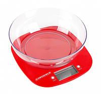 Ваги кухонні GRUNHELM KES-1PR (червоні, з чашею) макс. вага 5кг, сенсорні, з батареєю 1х3VCR2032
