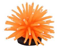 """Декор для аквариума """"Искусственный еж"""" оранжевый, диаметр 4,5см, силикон"""