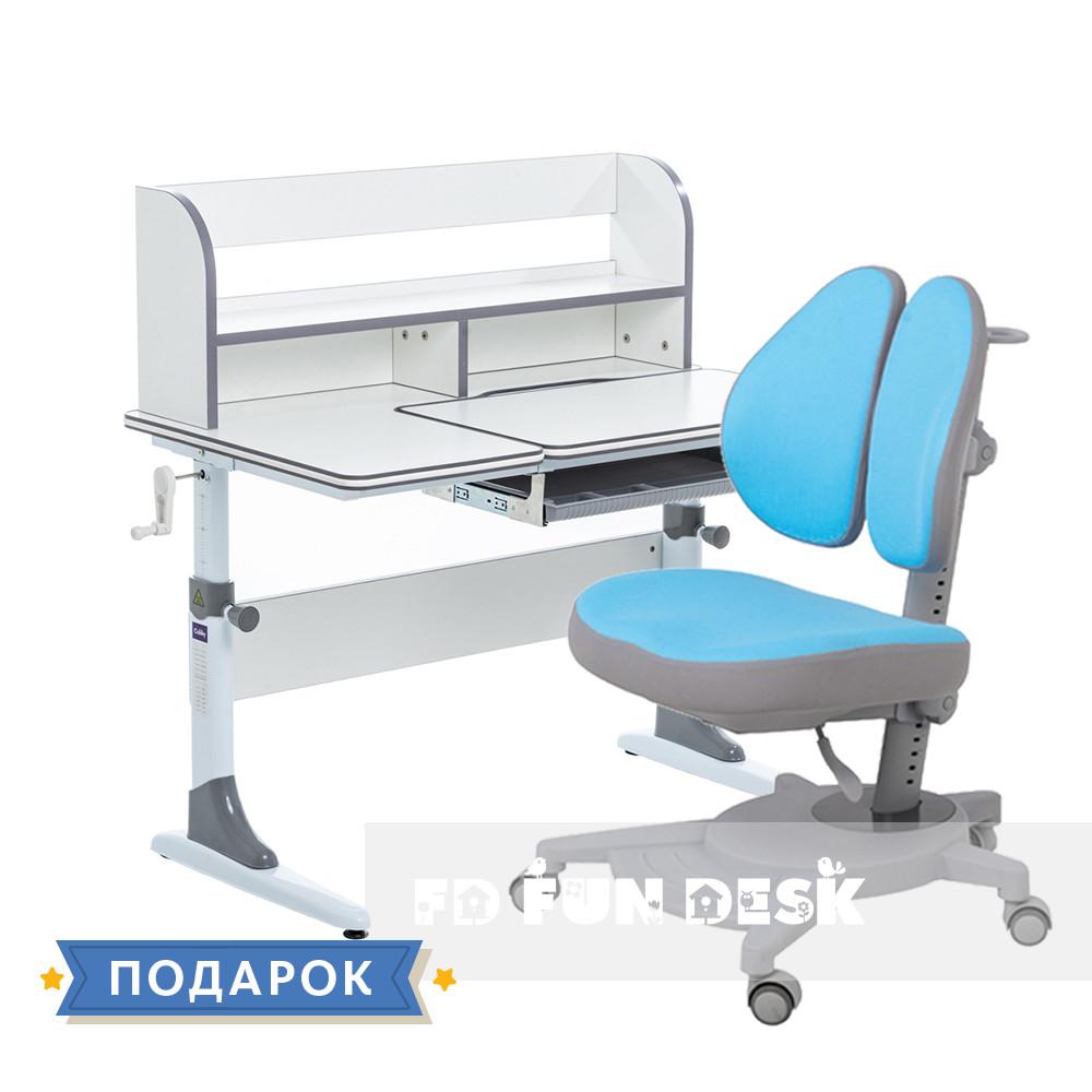 Комплект растущая парта для школьников Cubby Nerine Grey+эргономичное кресло FunDesk Pittore Blue