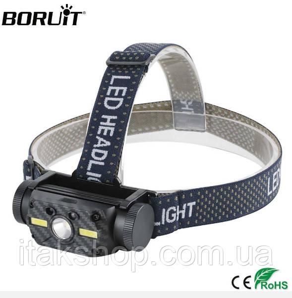 Налобный фонарь Boruit B34 сенсор 21700/18650 USB XM-L2+2*COB 4000лм
