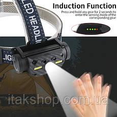 Налобный фонарь Boruit B34 сенсор 21700/18650 USB XM-L2+2*COB 4000лм, фото 2