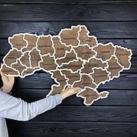 Деревянная декоративная настенная карта Украины, фото 1