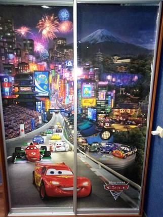 Наклейка с тачками в детскую на шкаф, двери, стены 240 х 100 см с защитной ламинацией, фото 2