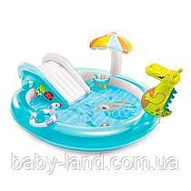 Детский надувной игровой центр с горкой Аллигатор Intex 57165