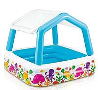 Детский надувной бассейн Intex «Аквариум» со съемным навесом (157*157*122 см)