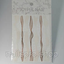 Лента 3D JoyFul Nail бело золотая