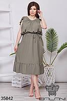 Романтическое женское летнее платье цвета хаки 48-52,54-58,60-64